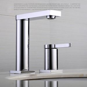 Modern Simple Style Bathroom Chrome Plating Sink Faucet Deck Mounted Double Hole Single Handle