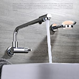 Modern Simple Style Bathroom Chrome Plating Sink Faucet Wall Mounted Single Hole Single Handle