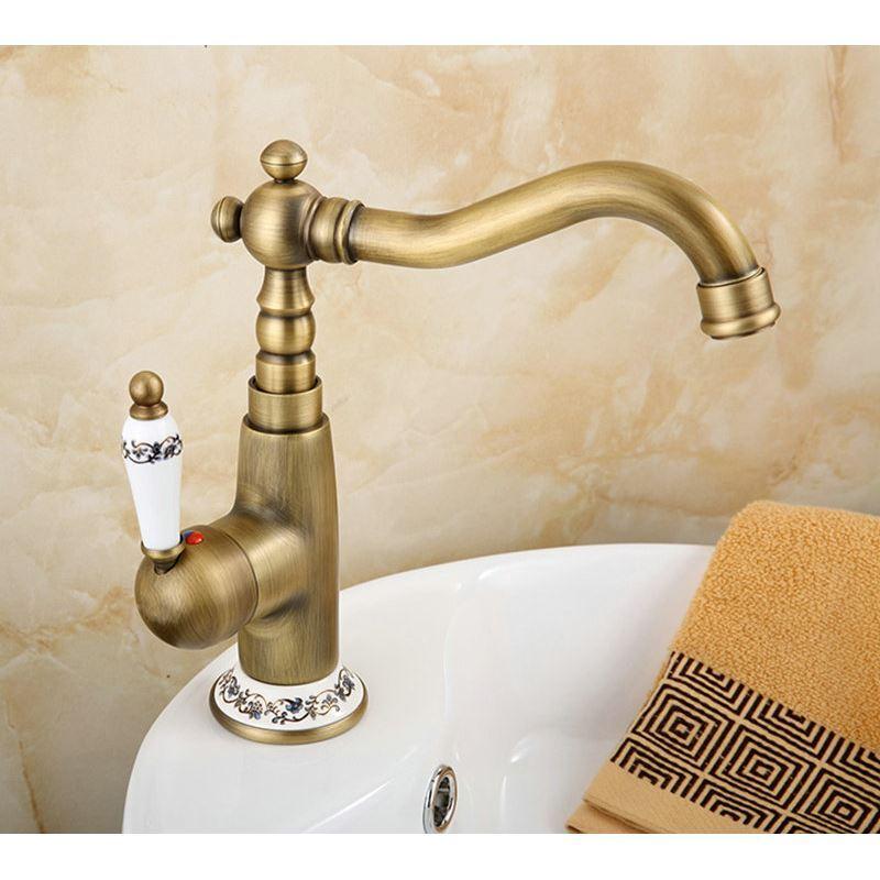 ... Antique Brushed Finish Brass Sink Faucet Single Hole Single  Handle Img_3 ...