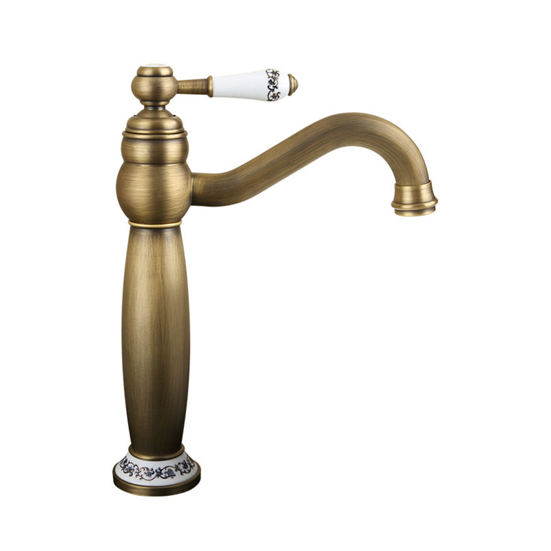 Antique brushed finish brass sink faucet single hole single handle for Brushed copper bathroom faucets