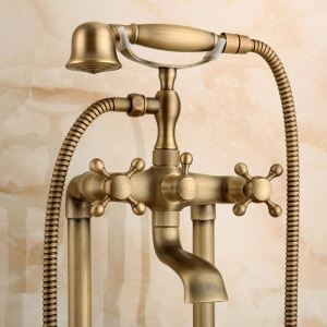 Antique Brushed Finish Brass Bathroom Shower Faucet Double Hole 2 Handle