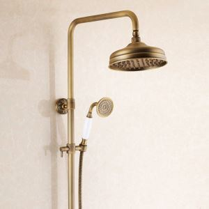 Antique Brushed Finish Brass Bathroom Shower Faucet with Handheld Shower Carved Base 3 Hole 2 Handle