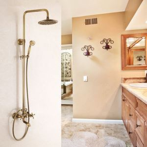 Antique Brushed Finish Brass Bathroom Shower Faucet with Handheld Shower 3 Hole 2 Handle