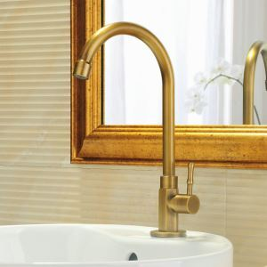 Antique Faucet Brushed Finish Brass Sink Faucet Single Hole Single Handle
