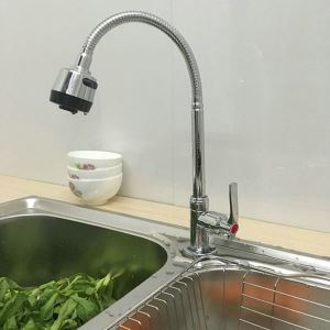 (In Stock)Modern Simple Chrome Plating Kitchen Faucet Adjustable Twist without Hose