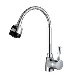 Modern Simple Chrome Plating Kitchen Faucet Adjustable Twist with Two 60cm Hoses