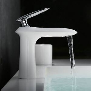 Modern Simple Style White Bathroom Sink Faucet Baking Paint Craft Deck Mounted Single Hole Single Handle