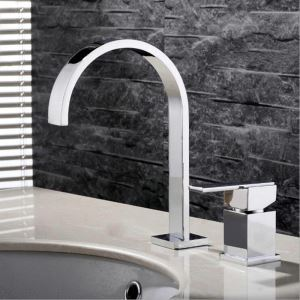 Modern Simple Style Chrome Plating Bathroom Sink Faucet Deck Mounted Double Hole Single Handle