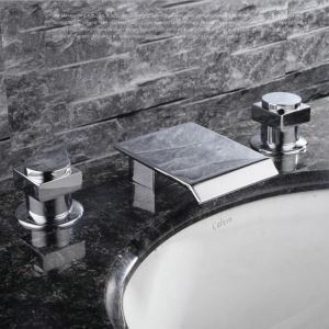 Modern Simple Style Chrome Plating Bathroom Sink Faucet Deck Mounted Waterfall Spout 3 Hole Double Handle