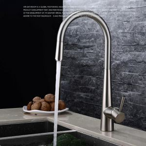 Modern Simple Style Kitchen Pull Out Faucet Brushed Finish Single Hole Single Handle