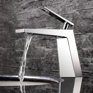 Modern Simple Style Chrome Plating Bathroom Sink Faucet Deck Mounted Single Hole Single Handle