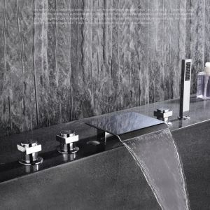 Modern Simple Style Bathroom Shower Waterfall Faucet Chrome Plating Craft Wall Mounted 5 Hole 3 Handle