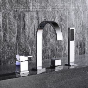 Modern Simple Style Bathroom Shower Faucet Chrome Plating Craft Wall Mounted 4 Hole Single Handle