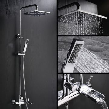 Image result for Modern Simple Chrome Plating Bathroom Shower Faucet with Handheld Shower 3 Hole Single Handle