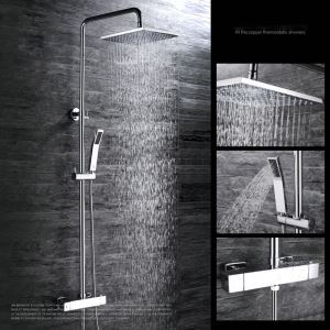 Modern Simple Chrome Plating Bathroom Shower Faucet with Handheld Shower 3 Hole Single Handle