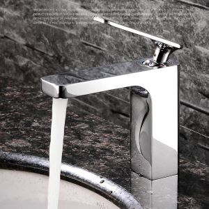 Modern Simple Style Chrome Plating Bathroom Sink Faucet Deck Mounted Single Hole Single Handle