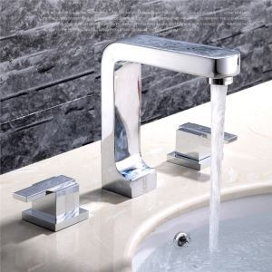 Modern Simple Style Chrome Plating Bathroom Sink Faucet Deck Mounted 3 Hole Double Handle