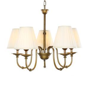 5 Light 28 inch Ceiling Light Fixture, White Shade