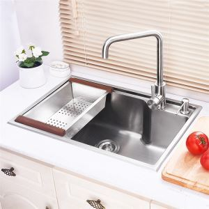 Deep Single Bowl Kitchen Sink with Drainboard Hand-made Brushed #304 Stainless Steel HM5843L
