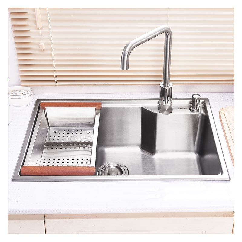 Modern Kitchen Sink Single Bowl Hand Made Brushed 304 Stainless Steel Topmount