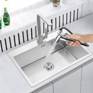 modern simple 4mm thick handcraft single groove 304 stainless steel sink kitchen basin 500450mm - Kitchen Basin Sinks