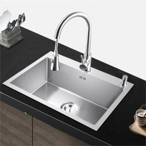 Modern Simple 4MM Thick Handcraft Single Groove 304 Stainless Steel Sink Kitchen Basin 550*450mm