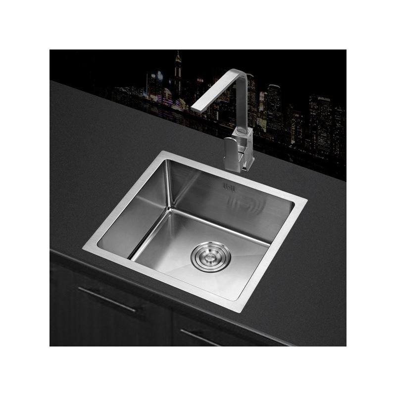 Modern kitchen sink single bowl hand made brushed 304 stainless steel sink topmount sink - Stainless steel table with sink and faucet ...