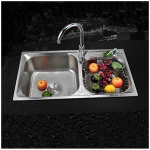 Kitchen Sink 2 Bath Sink # 304 Stainless Steel Sink Topmount Sink  MOR6939M  Silver (Faucet Not Included)