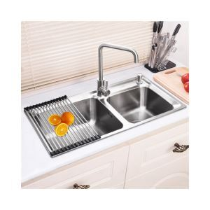 Modern Kitchen Sink 2 Bowls Brushed # 304 Stainless Steel Sink Topmount Sink (Faucet Not Included) AOM8143M
