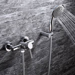 Modern Simple Style Bathroom Shower Faucet Chrome Plating Craft Wall Mounted Double Hole Single Handle