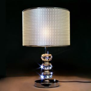 Eye-catching Modern Table Lamp Features Grey Fabric Shade with Black Edging and Beautiful Crystal Embellishments