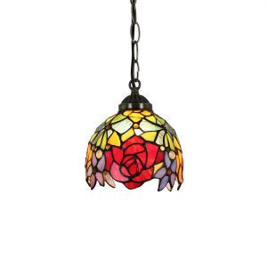 6inch European Pastoral Retro Style Pendant Light Red Rose Pattern Shade Bedroom Living Room Dining Room