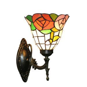 8inch European Pastoral Retro Style Wall Light Colorful Flowers Pattern Shade Bedroom Living Room Dining Room Kitchen Lights