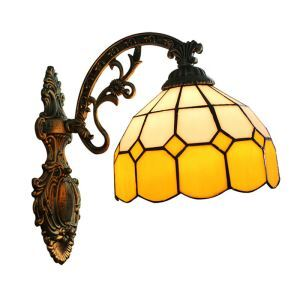 8inch European Pastoral Retro Style Wall Light Yellow and White Shade Bedroom Living Room Dining Room Kitchen Lights