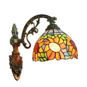 8inch European Pastoral Retro Style Wall Light Sunflower Pattern Shade Bedroom Living Room Dining Room Kitchen Lights