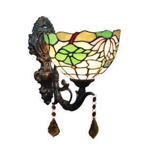 8inch European Pastoral Retro Style Wall Light Dragonfly and Lotus Pattern Shade Bedroom Living Room Dining Room Kitchen Lights