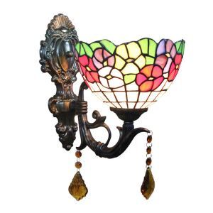 8inch European Pastoral Retro Style Wall Light Colorful Flower Pattern Shade Bedroom Living Room Dining Room Kitchen Lights