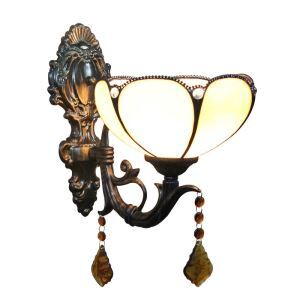 8inch European Pastoral Retro Style Wall Light Light Yellow Shade Bedroom Living Room Dining Room Kitchen Lights