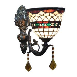 8inch European Pastoral Retro Style Wall Light Colorful Pattern Shade Bedroom Living Room Dining Room Kitchen Lights