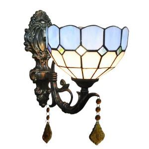 8inch European Pastoral Retro Style Wall Light Blue and White Shade Bedroom Living Room Dining Room Kitchen Lights