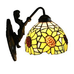 8inch European Pastoral Retro Style Wall Light Sunflower Pattern Shade Mermaid Carrying Lantern Modeling Base Bedroom Living Room Dining Room Kitchen Lights