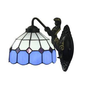 8inch European Pastoral Retro Style Wall Light Blue and White Shade Mermaid Carrying Lantern Modeling Base Bedroom Living Room Dining Room Kitchen Lights