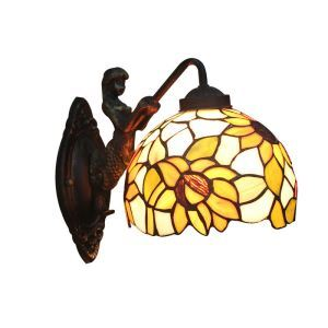 8inch European Pastoral Retro Style Wall Light Colorful Flowers Pattern Shade Mermaid Carrying Lantern Modeling Base Bedroom Living Room Dining Room Kitchen Lights