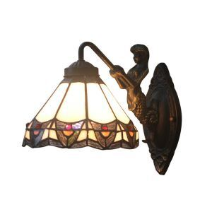 8inch European Pastoral Retro Style Wall Light Colorful Pattern Shade Mermaid Carrying Lantern Modeling Base Bedroom Living Room Dining Room Kitchen Lights
