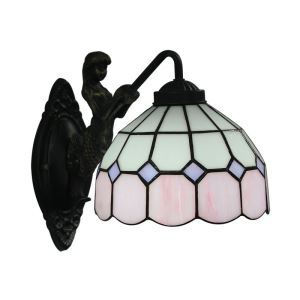 8inch European Pastoral Retro Style Wall Light Pink and White Pattern Shade Mermaid Carrying Lantern Modeling Base Bedroom Living Room Dining Room Kitchen Lights