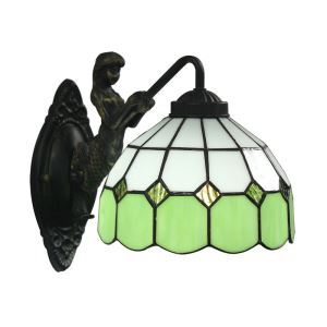 8inch European Pastoral Retro Style Wall Light Green and White Pattern Shade Mermaid Carrying Lantern Modeling Base Bedroom Living Room Dining Room Kitchen Lights
