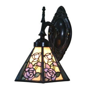 8inch European Pastoral Retro Style Wall Light Colorful Rose Pattern Shade Bedroom Living Room Dining Room Kitchen Lights