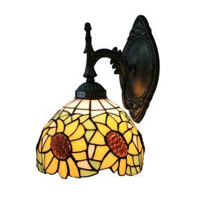 8inch European Pastoral Retro Style Sconce Sunflower Pattern Shade Bedroom Living Room Dining Room Kitchen Lights