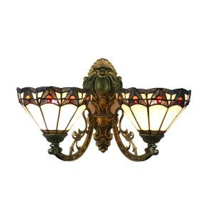 8inch European Pastoral Retro Style Wall Light Colorful Pattern 2 Lights Bedroom Living Room Dining Room Kitchen Lights