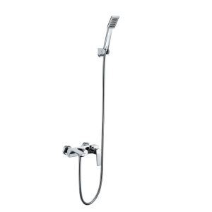 Modern Simple Style Chrome Plating Bathroom Shower Faucet Wall Mounted 3 Hole Single Handle